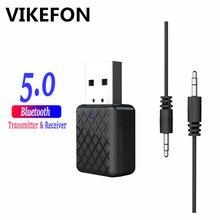 VIKEFON Bluetooth 5.0 Adapter nadajnik Bluetooth odbiornik 3.5mm dźwięk Stereo dźwięk muzyka Dongle dla TV słuchawki do komputera głośniki