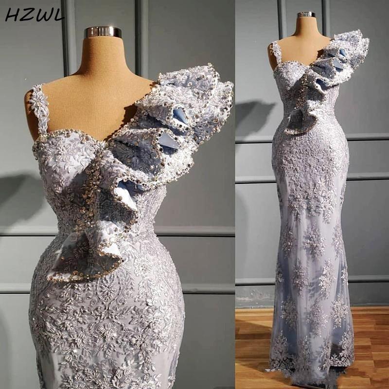 Silver Aso Ebi Prom Dresses Long Beaded Crystals Appliques Lace Mermaid Evening Dress Ruffles Party Gowns платье на выпускной