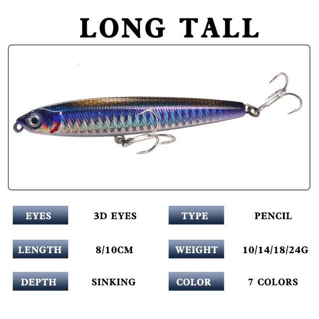Рыболовная приманка-карандаш, вес 10-24 г 2