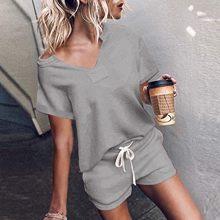 Conjunto de pijamas com cordão manga curta das mulheres pijamas de verão mujer sleepwear loungewear duas peças casa terno solto pizama damska