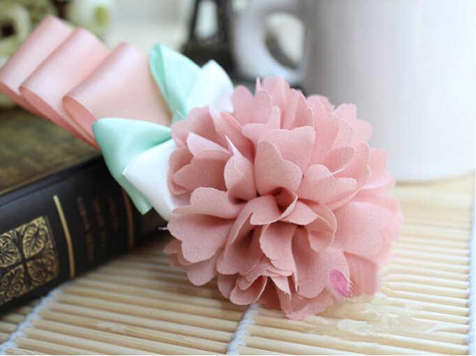 David-ruban en mousseline de soie 3x95cm | Accessoires pour Bouquets d'invitation de mariage avec tissu, nœud de cheveux fait à la main, 1Yc10263
