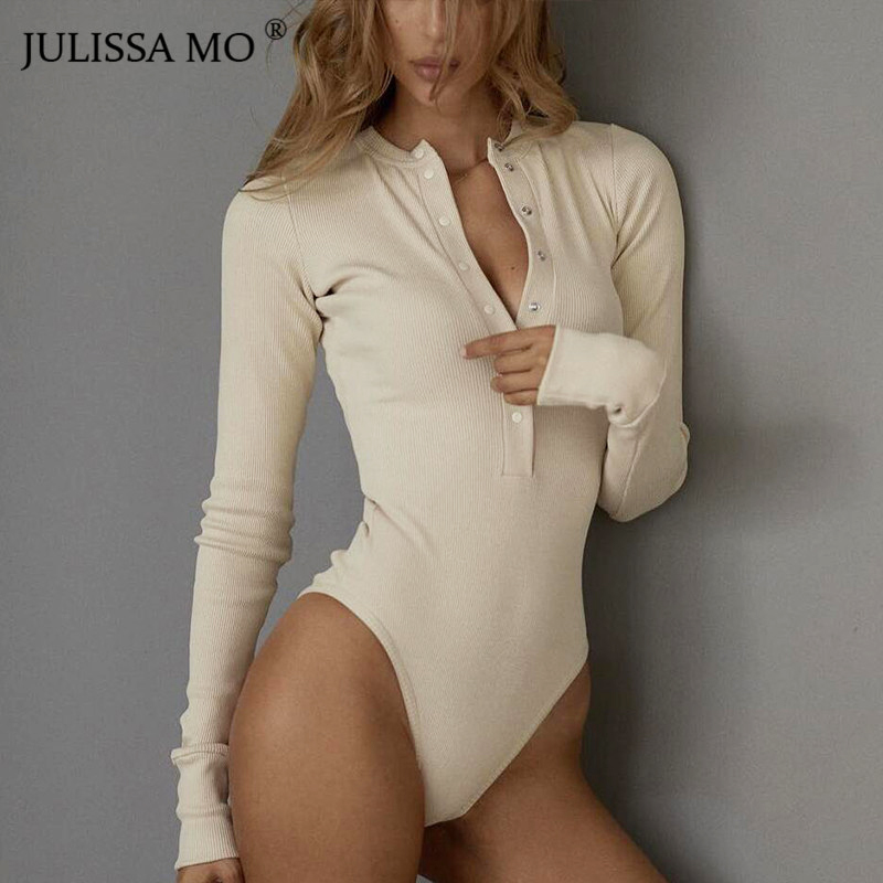 JULISSA MO <font><b>Sexy</b></font> V Neck Knitted <font><b>Bodysuit</b></font> Women <font><b>Black</b></font> Long Sleeve Buttons Rompers Womens Jumpsuit 2018 Casual One-pieces <font><b>Bodysuits</b></font> image