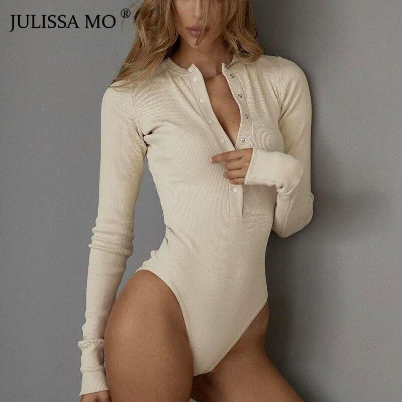 Боди JULISSA MO женское с длинным рукавом и треугольным вырезом на пуговицах|Боди| - AliExpress