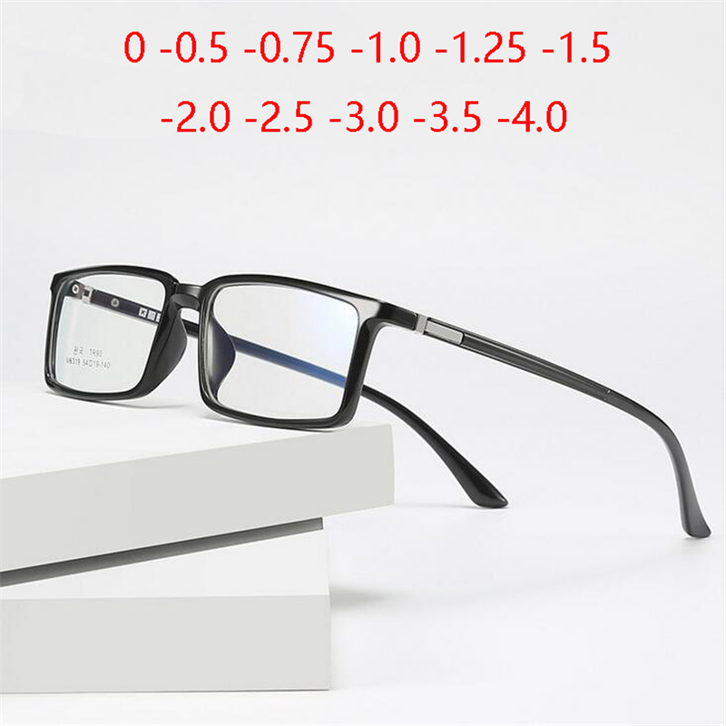 Anti-blue Light Square Prescription Eyeglasses Women Men TR90 Myopia Lens Optical Spectacle Myopes Lunettes 0 -0.5 -0.75 To -4.0