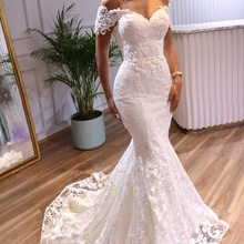 Wedding-Dresses Bridal-Gowns Angelsbridep Tulle Mermaid Off-Shoulder Formal Sweetheart