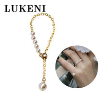 Женское кольцо с натуральным жемчугом маленькое регулируемое