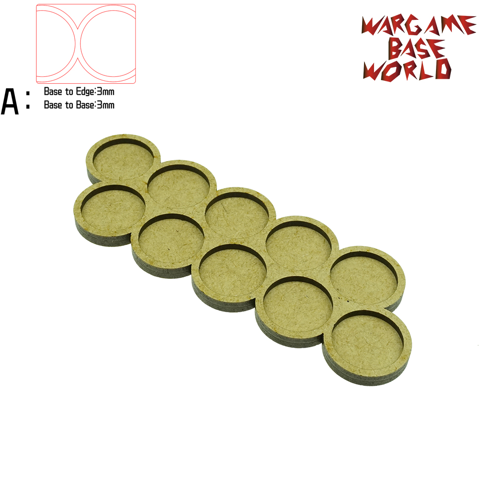 Wargame Base World - Movement Tray - 10 Bases 25mm Round - Double Line - Derangements  Shape MDF