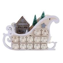 House Sleigh Wooden Advent Calendar Countdown Christmas Party Decor 24 Drawers U90A