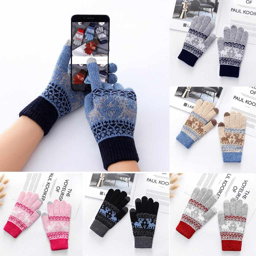 Versatilely High Quality Unisex Winter Touch Screen Casual Gloves Warm Plus Velvet Thickening Riding Knit Gloves handschoenen