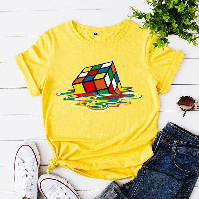 Plus rozmiar S-5XL nowy Rubik's Cube drukuj kobiety T-Shirt 100% bawełna kobiety koszule O Neck z krótkim rękawem topy lato T Shirt różowy TShirt
