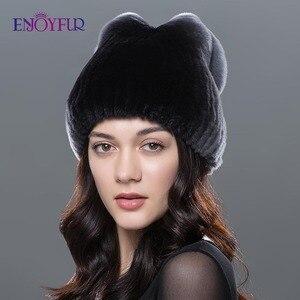 Image 1 - Sombrero de piel de Invierno para mujer, gorro de piel de conejo rex natural, diseño de lazo, gorros de moda, sombreros de piel de invierno rusos
