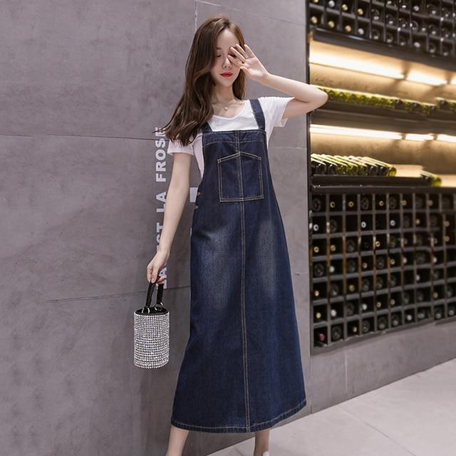 2021 New Korean Fashion Long Denim Sundress Vintage Jeans Dress Women Suspenders Dresses Female Overalls Robe Femme 3