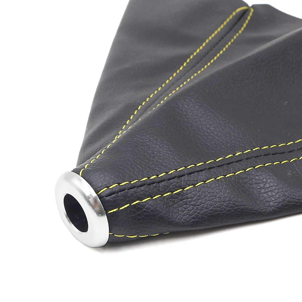 Evrensel PVC deri manüel vites topuzu körüğü otomatik araba Styling Shifter bot kılıfı kırmızı/mavi/sarı çizgi
