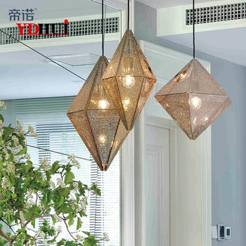 Modern Pendant Lamp Replica of Web Etch Diamond Shaped Pendant Light For Living Room Hall