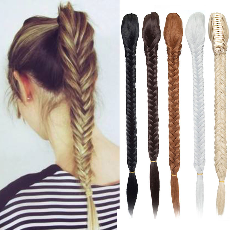 Snoilite 20inch Long Fishtail Braids Hair Extensions Ponytail hair synthetic claw clip in braiding ponytail hairpiece for women