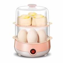 Double egg steamer egg cooker boiled eggs quick breakfast machine mini stainless steel egg steamer small appliances