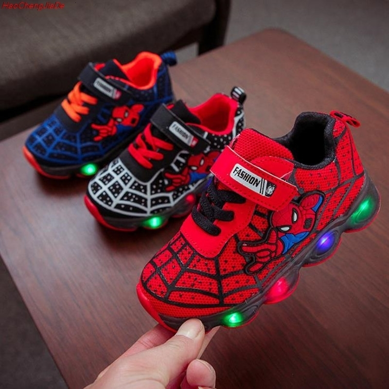 New Spider-Man Children's Shoelaces With Light Laces Children's Boys Led Shoes Sports Shoes Glowing Basketball Unisex