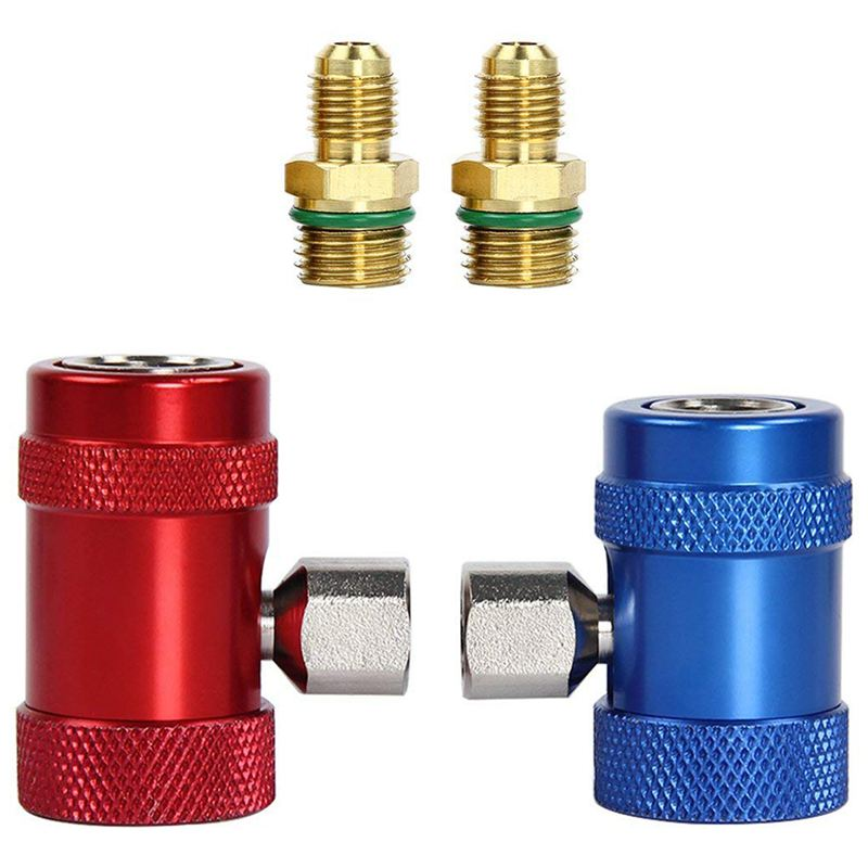 Car Auto AC High / Low Side R1234yf Quick Couplers Adapters Conversion Kit With Manual Couplers