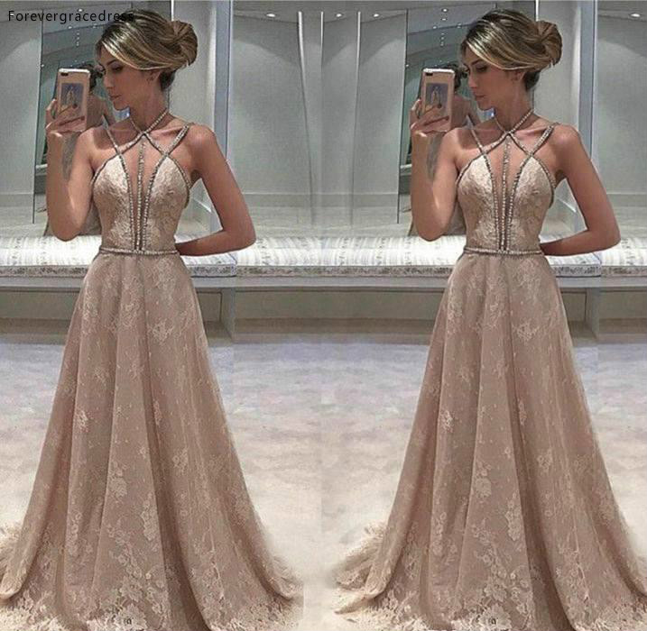 Sexy Sleeveless Evening Dress Cheap Chic Lace Long Backless Formal Wear Party Gown Custom Made Plus Size