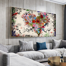 DDHH Wall Art Picture Canvas Print Love Painting Abstract Colorful Heart Flowers Posters  For Living Room Home No Frame