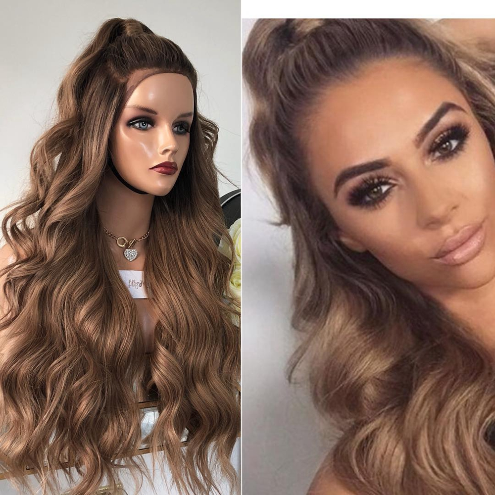 13x4 Lace Front Human Hair Wigs Silk Base Ombre Brown Blonde U Part Natural Wave 360 Lace Frontal Wig Remy Baby Hair Preplucked