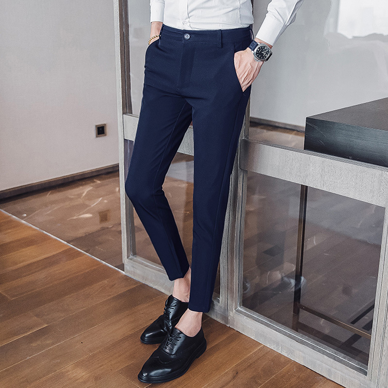 A Pieces Of Hair 2019 Summer Wear Korean-style Capri Pants Men Trend Of Fashion Suit Pants Youth Large Size Skinny Pants Casual