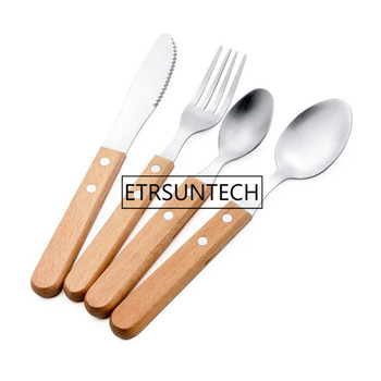 100set Wood Handle Stainless Steel Cutlery Set 4 pcs Party Dinner Spoon Knife Fruit Fork Cutlery Tableware Kitchen Gadgets фото