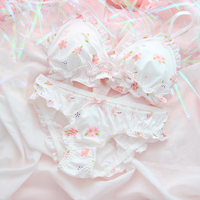 Smile Clouds Sakura Print Ruffle Cute Japanese Bra & Panties Set Soft Underwear Sleep Intimates Set Kawaii Lolita 2 Colors