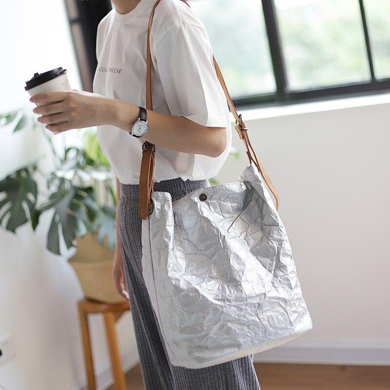 Vintage Simple Paper Woman Shoulder Bag Wrinkled Washed Old Bucket Bag Casual Art Kraft Paper Messenger Bag