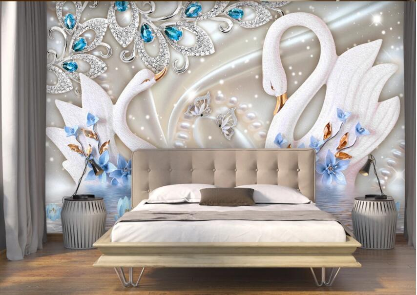 3d Wall Murals Wallpaper For Living Room European Palace Style Jewelry Swan Background Home Decor Photo Wallpaper For Walls 3 D