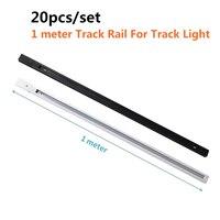 20 шт./компл. 1 м светодиодный светильник для рельсов алюминиевый светильник для рельсов Универсальный рельсовый рельс 2 провода однофазный в...