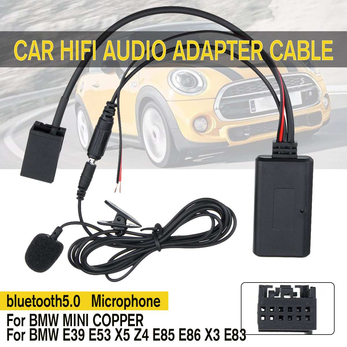 AUX Car Audio Bluetooth 5.0 HIFI Cable Adaptor Microphone For BMW E83 85 86 For MINI COOPER