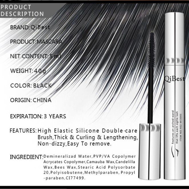 Black mascara 4d thick and long eye mascara waterproof silver tube silicone brush mascara professional cosmetics 5
