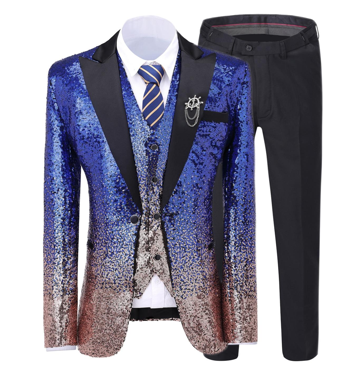 Solovedress Mens Sequins Blazer Vest Suit Peak Lapel 3Pieces Vintage Gradient Stage Party Perfermance Suit Shiny Fashion Tuxedos