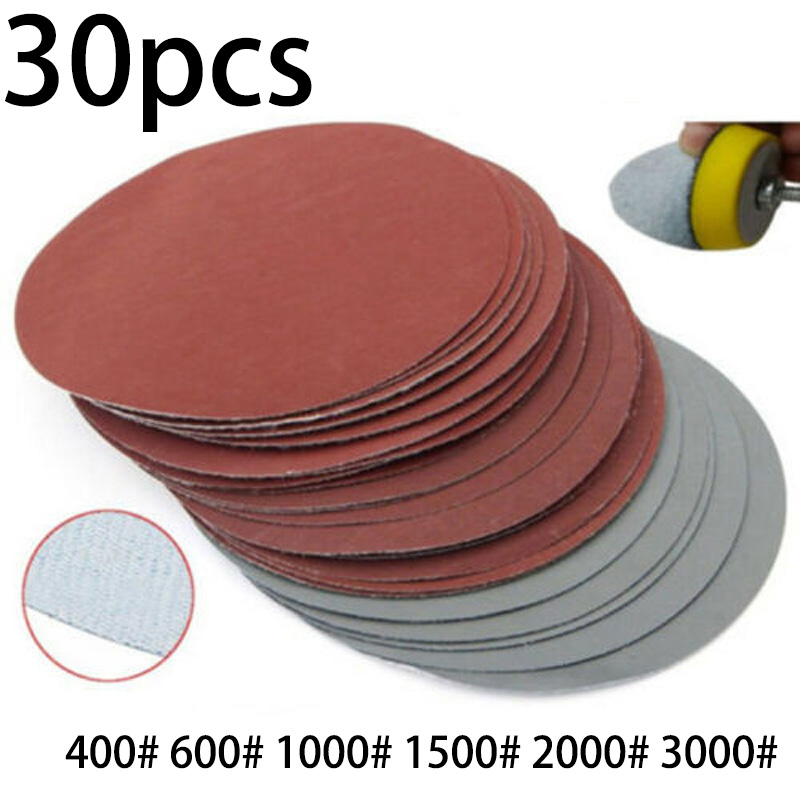 150mm  Round Sander Sanding Disc Set Sandpaper 150mm Pad 600-3000 Grit Abrasive Disc 30 Pcs