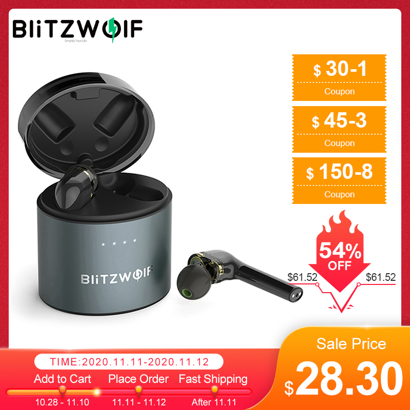 BlitzWolf BW-FYE8 TWS True Wireless bluetooth 5 0 Earphone Headset Dual Dynamic Driver Hands-free Hifi Earbuds IPX5 Long Handle