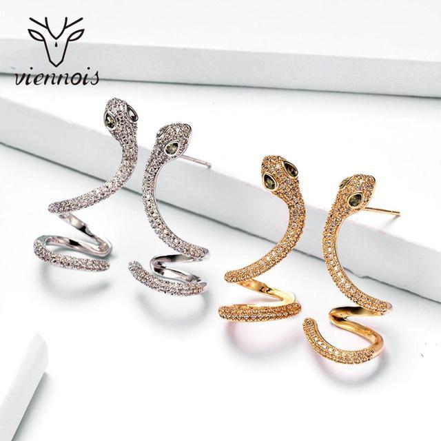 Viennois Cuff Stud Snake Earrings Top Zircon Rhinestone Vintage Earrings
