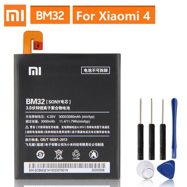Batteria di Ricambio originale Per Xiaomi Mi 4 M4 Mi4 BM32 Genuino Batteria Del Telefono 3080mAh