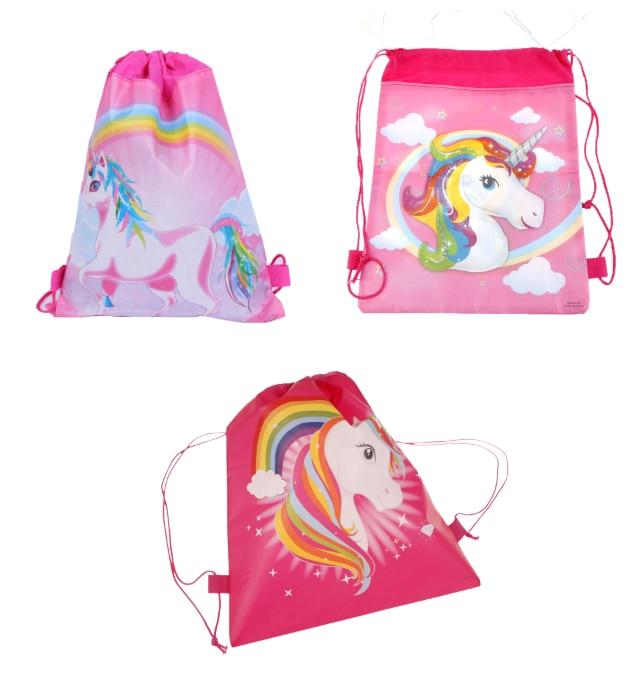 3Styles Unicorn Drawstring Bag 35.5*28cm Fashion Cartoon Theme Unicorn String Bags Kids Back Bags