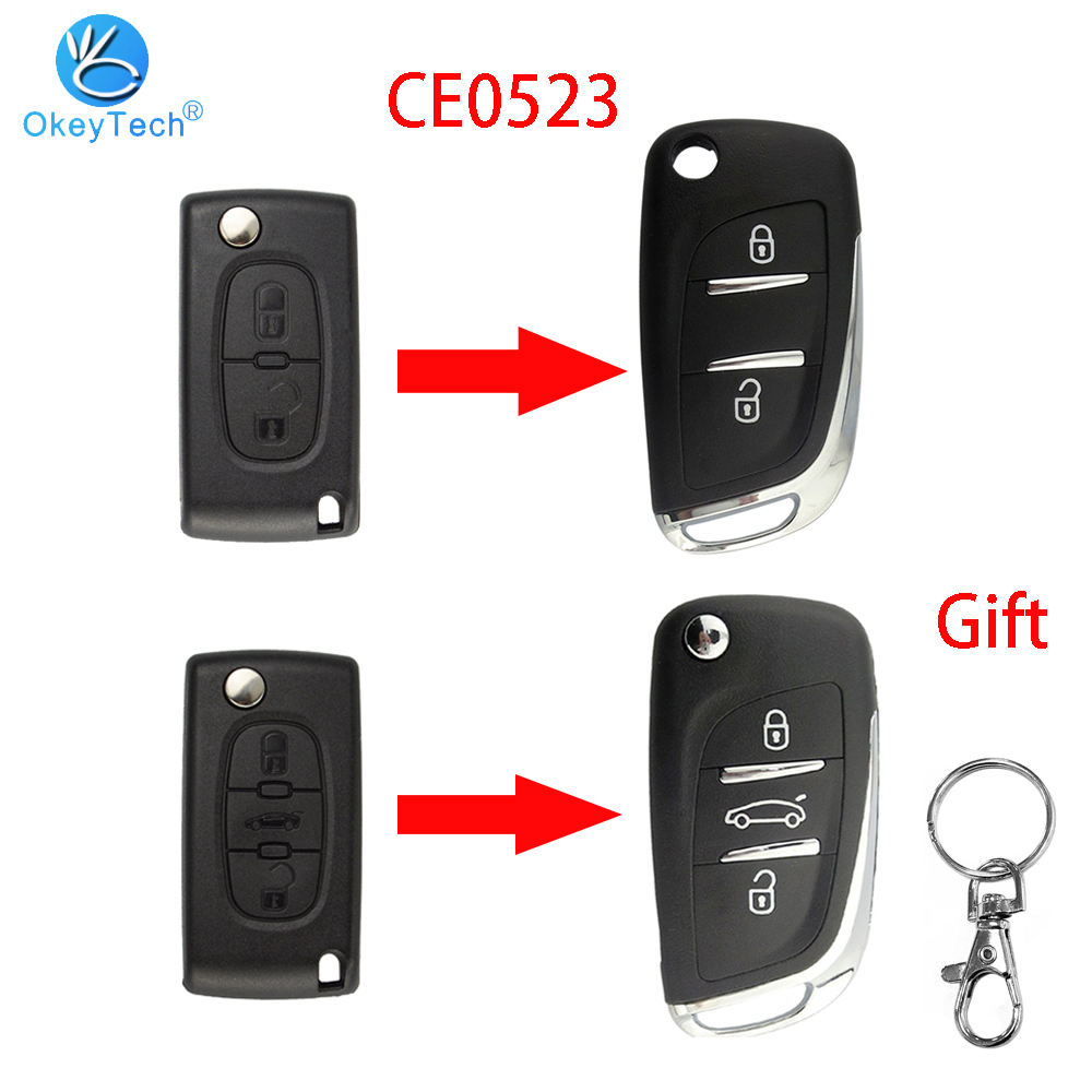 OkeyTech для Peugeot 306 407 807 партнером для Citroen C2 C4 C5 C6 C8 Berlingo; Picasso CE0523 модифицированный флип пульт дистанционного ключа оболочки Чехол|Ключ от авто|   | АлиЭкспресс