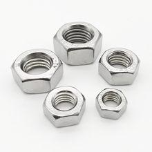 1/2/5/10/25/50/100pcs M1 M1.2 M1.4 M1.6 M2 M2.5 M3 M3.5 M4 M5 M6 M8 M10 M12 M16 M20 M24 A2 304 Stainless Steel Hex Hexagon Nut