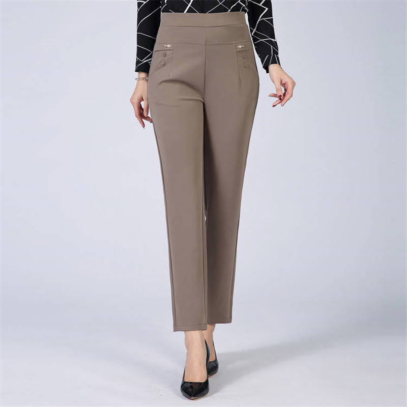 Mom's Plus Size 5XL Slim Waist Pencil Trousers Casual Track Pants Women Streetwear Vintage Higth Waist Pants Formal Work Pants