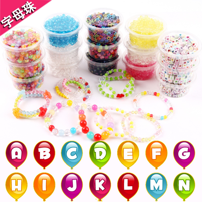 Children Bead Toy GIRL'S Wear Beads Bracelets Necklace Baby DIY Educational Hand-made Material Alphabet Beads