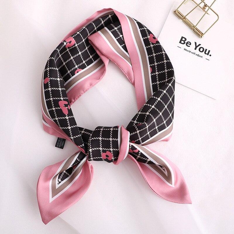 2020 Luxury Brand Lattice Print Women Silk Scarf Small Handle Bag Ribbons Female Head Scarves  Foulard Gray
