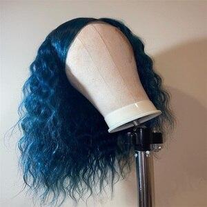 Image 2 - 130% dantel ön 13x4 yan kısmı kıvırcık dantel ön İnsan saç peruk siyah kadınlar için kısa Bob perulu remy saç ön koparıp Rosa