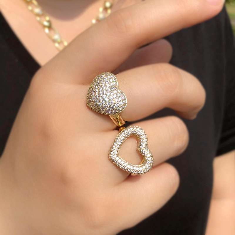 2020 Anillos de dedo con forma de corazón a la moda para mujer AAA Zircon cúbico apilable elegante anillo ajustable de novia casamiento compromiso joyería CZ