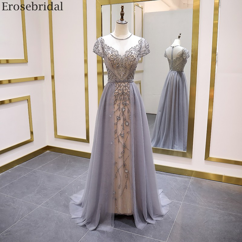 Erosebridal Elegant Short Sleeve Evening Dress 2020 A Line Beads Long Prom Dress O Neck Small Train See Through BackEvening Dresses   -