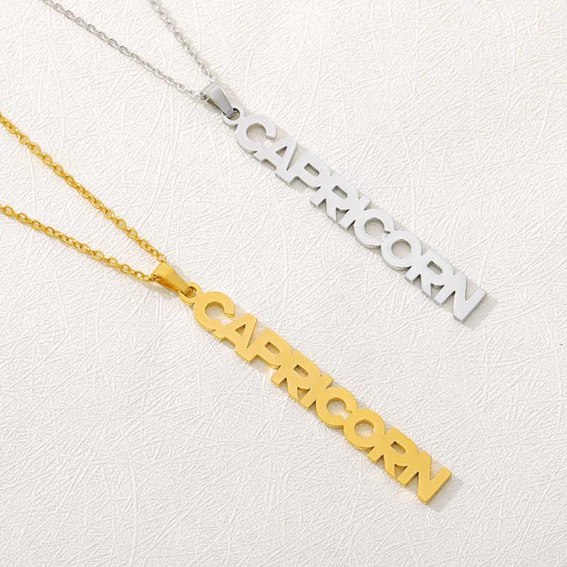 Collares del zodiaco para las mujeres joyería Acuario de la constelación Piscis Aries Tauro collar con colgante con letra mejor amigo regalo coltier