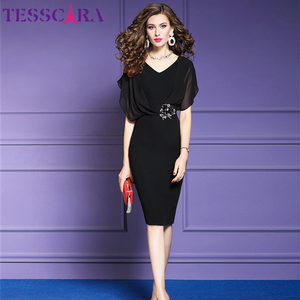 Image 3 - TESSCARA נשים קיץ אלגנטי משרד שמלת Festa נשי אופנה עיפרון המפלגה Robe Femme Vintage אימפריה מעצב שיפון Vestidos