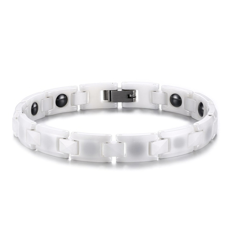 White Ceramic Bracelets for Women Healthy Care Magnetic Energy Adjustable Woman Jewelry
